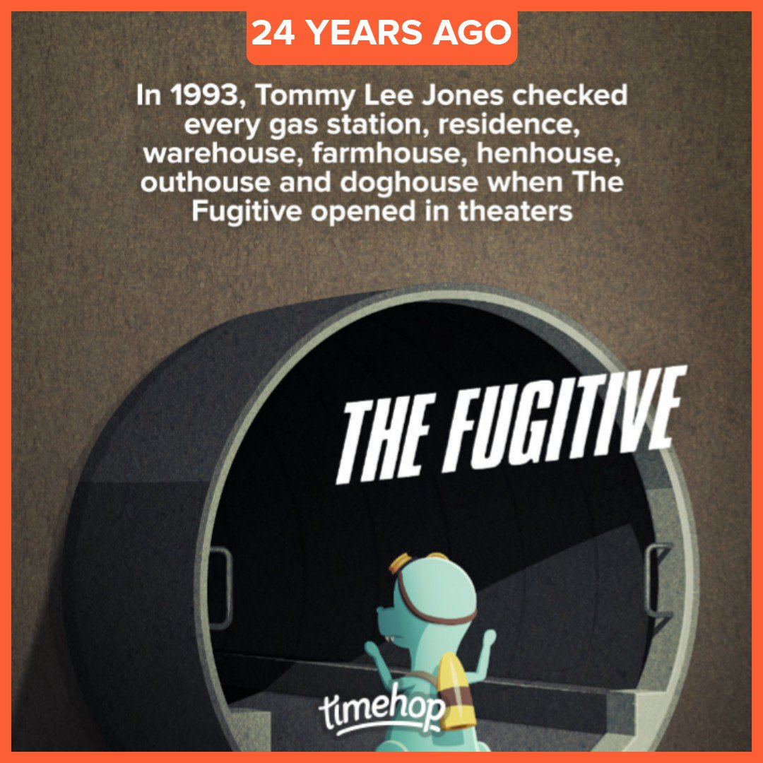 24 years ago #TheFugitive opened in theaters #timetravel https://t.co/i6Asz1X5l2