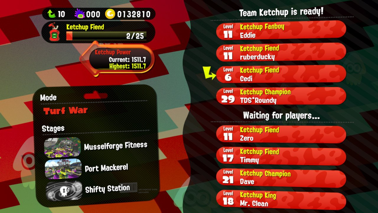 Screenshot of matchmaking as a Splatfest team with a popularity majority