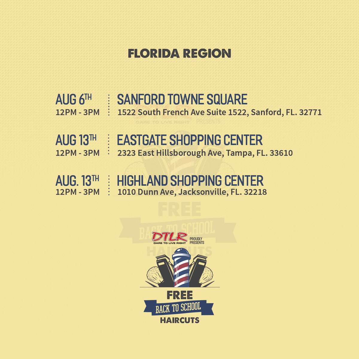 #FL Time to get ready for school! Bring the kids by #DTLR for a #FREE haircut TODAY DTLR-Sanford #Back2School #Haircuts #Daretoliveright https://t.co/9AJ9RbE7Oj
