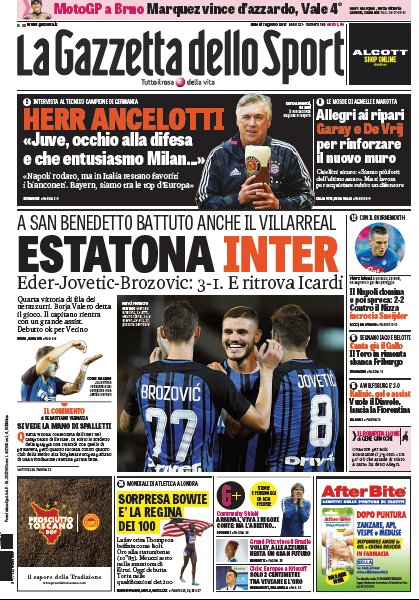 Today&#39;s #Gazzetta: Estatona #Inter Herr #Ancelotti Sorpresa #Bowie, is the queen of the 100<br>http://pic.twitter.com/PwJBbQFcTR