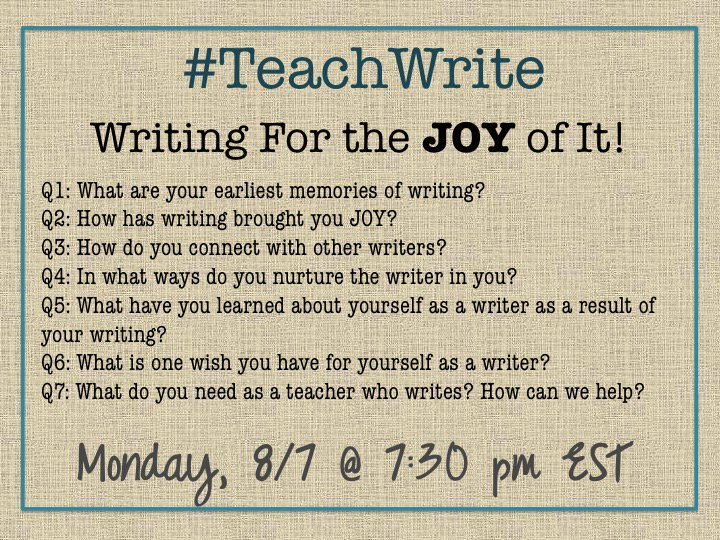 Calling all writing teachers & teacher-writers: Join us for the 1st #TeachWrite chat on Monday, 8/7. More info: https://t.co/8VboPxwMUl https://t.co/tYdfmaCjGn