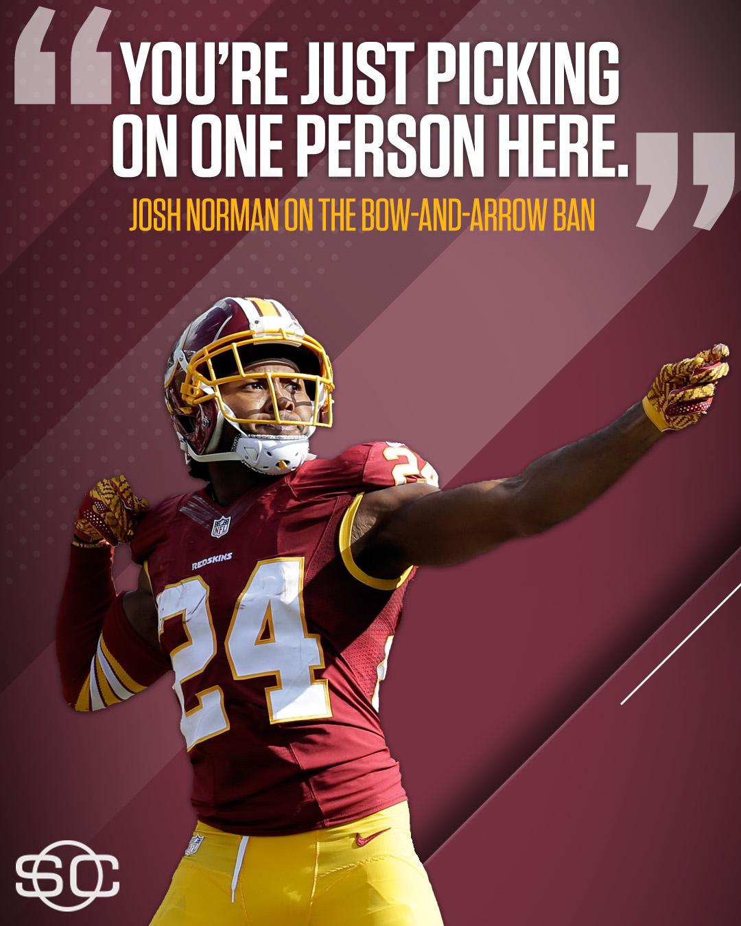 Josh Norman feels targeted by the NFL's bow-and-arrow ban. https://t.co/dxglaHGS5U https://t.co/cgIK0dZZn8