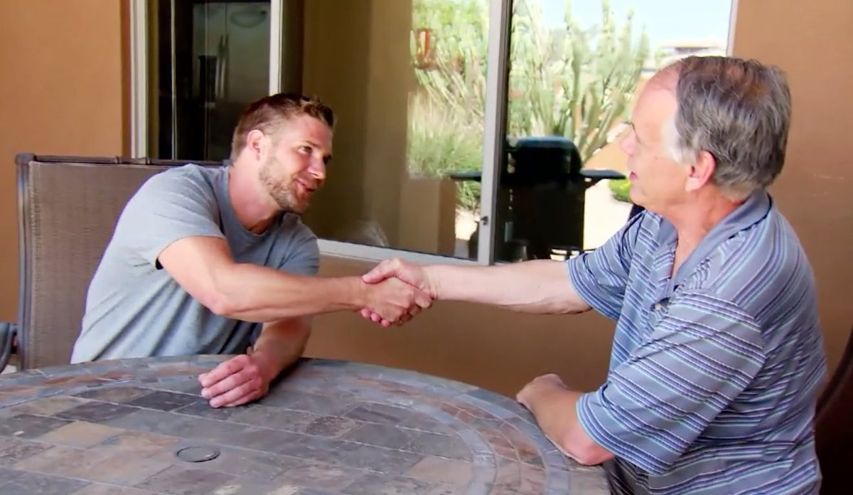 Jimmy shaking hands with Kelli Jo's father on TLC's 'The Spouse House'.