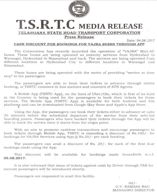 TSRTC on Twitter: