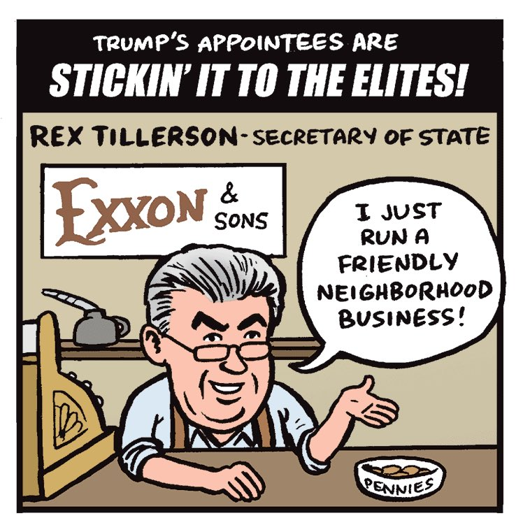 Since his confirmation it has never really been clear WHO it is that #Tillerson works for. Is it #Putin or #Exxon or both? Secretary of Oil.<br>http://pic.twitter.com/6Fc6nLdLez