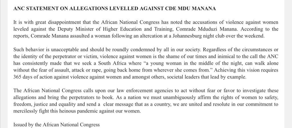 ANC STATEMENT ON ALLEGATIONS LEVELLED AGAINST CDE #MduduziManana https://t.co/ZXDOBumfZv