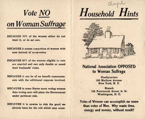 Here's the poster cautioning against giving American women the vote in 1910. Equality is always hard fought https://t.co/FAVXOxrT0G