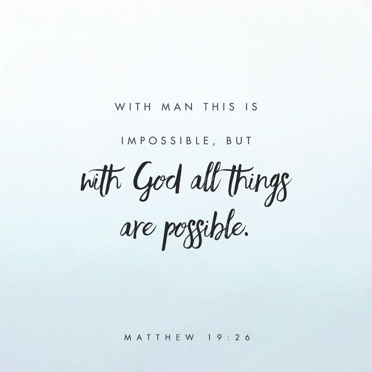 """Jesus looked at them and said,""""With man this is impossible, but with God all things are… https://t.co/5DEBSYgCJU https://t.co/qXxvqcJ9P9"""
