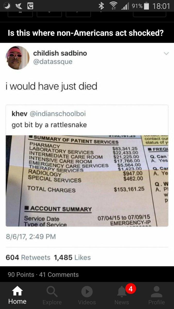 ค่ารักษาตอนโดนงูกัดในอเมริกา.....  /me ตายดีกว่า https://t.co/fZxnO0UfSC