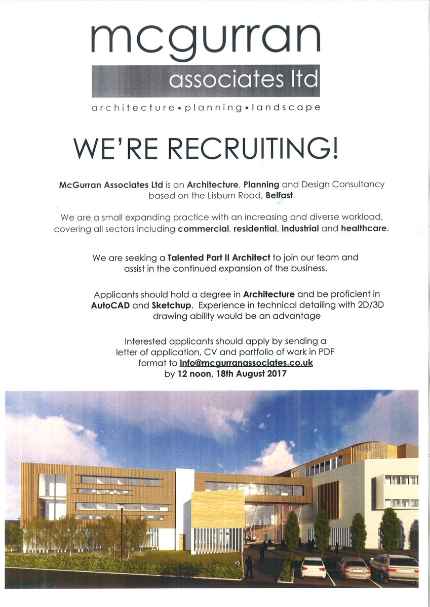 We Are Seeking A Part II Architect To Join Our Team @ArchitectureNI  @UlsterUni @QUBarch @RIBA #architecturepic.twitter.com/BptFGzpcjU