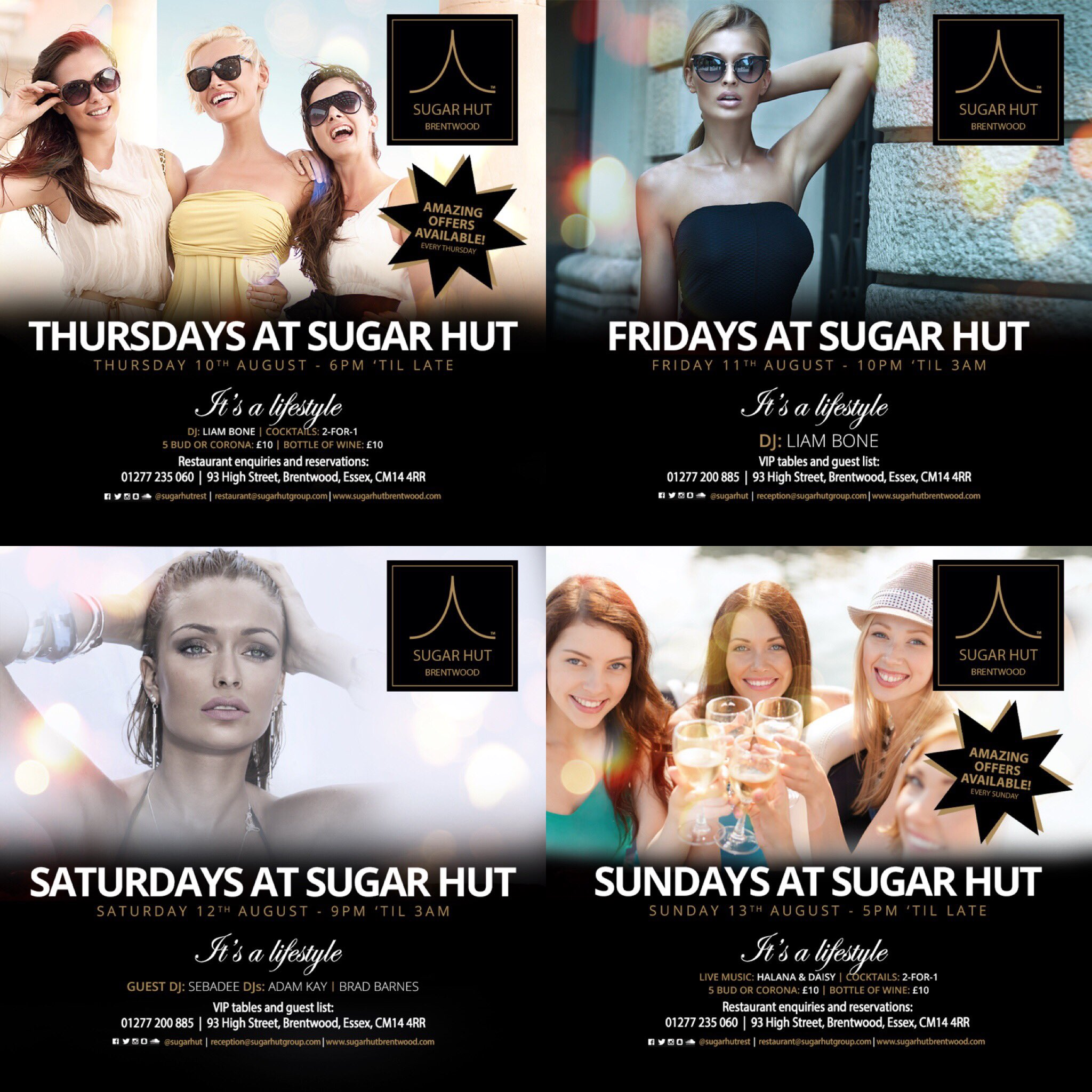 We have a jam packed weekend on the way @sugarhut ... For VIP tables call us on 01277 200885 📱 https://t.co/rQKRzDE39U