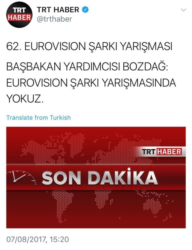 Turkey: Tweet from TRT Haber about participation in Eurovision 2018