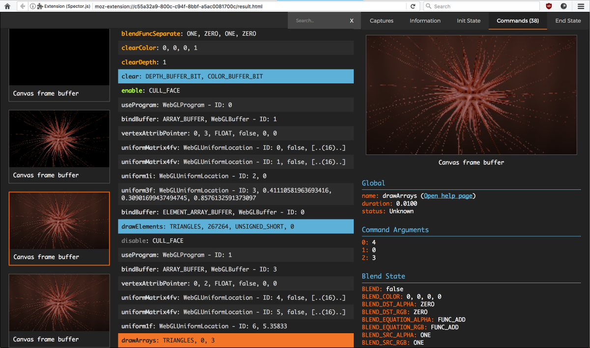 If you do WebGL and haven't used the Spector.js extension, get on it! It's great.