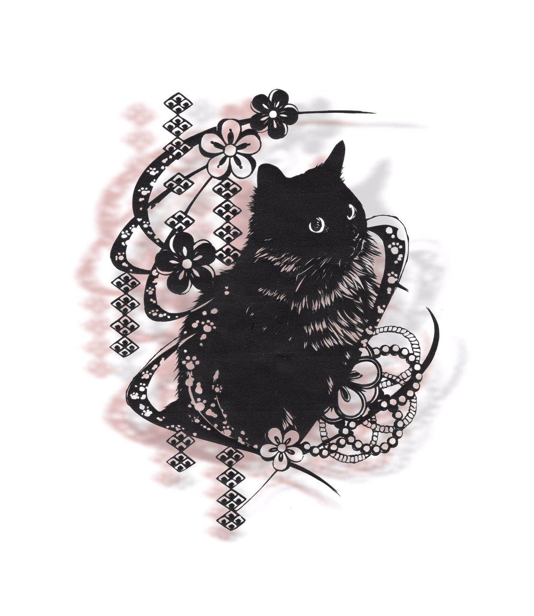 ほっと気を抜けるような切り絵にしたかったから可愛く出てきてくれて嬉しいしかしスキャンしたら所々潰れる、、 #切り絵 #猫 #動物 #全国の猫好きさんへ届け  ...