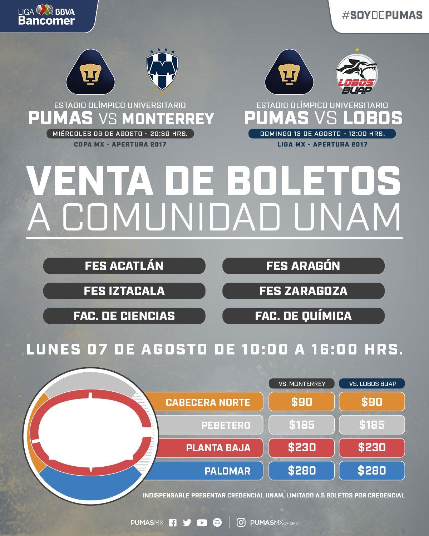 costo boletos pumas vs lobos