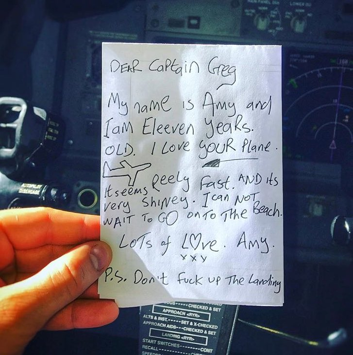 My mate who flies for Ryanair got this passed up to him last week
