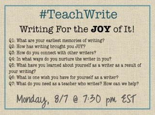 The debut of the #TeachWrite chat starts in one hour! Please join us to   talk about writing for the JOY of it! https://t.co/GIIDMU8EWH