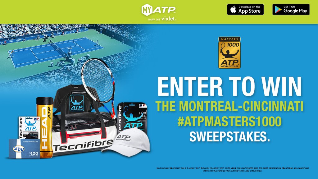 Register or log in to MyATP for a chance to win the #ATPMasters1000 Sweepstakes! Details: https://t.co/LYamF4dhHr https://t.co/4wchF30Zem