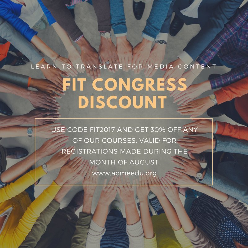 The #FITCongress2017 may be over, but our discount isn&#39;t. @FITCongress2017 #AVT #dubbing #subtitling #translation<br>http://pic.twitter.com/BrZGKxOznl