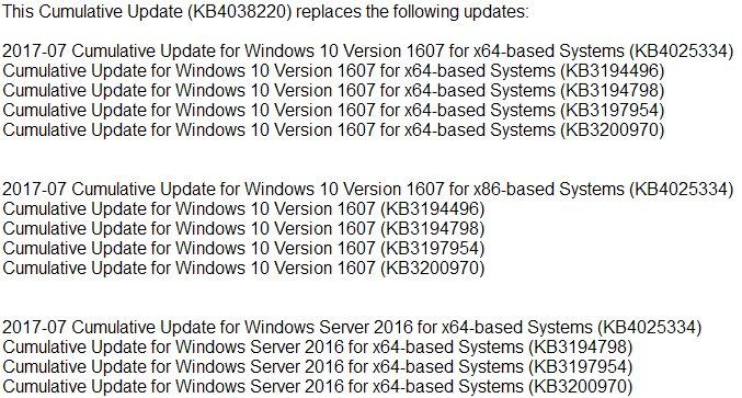 Update KB4038220 Windows 10 V1607