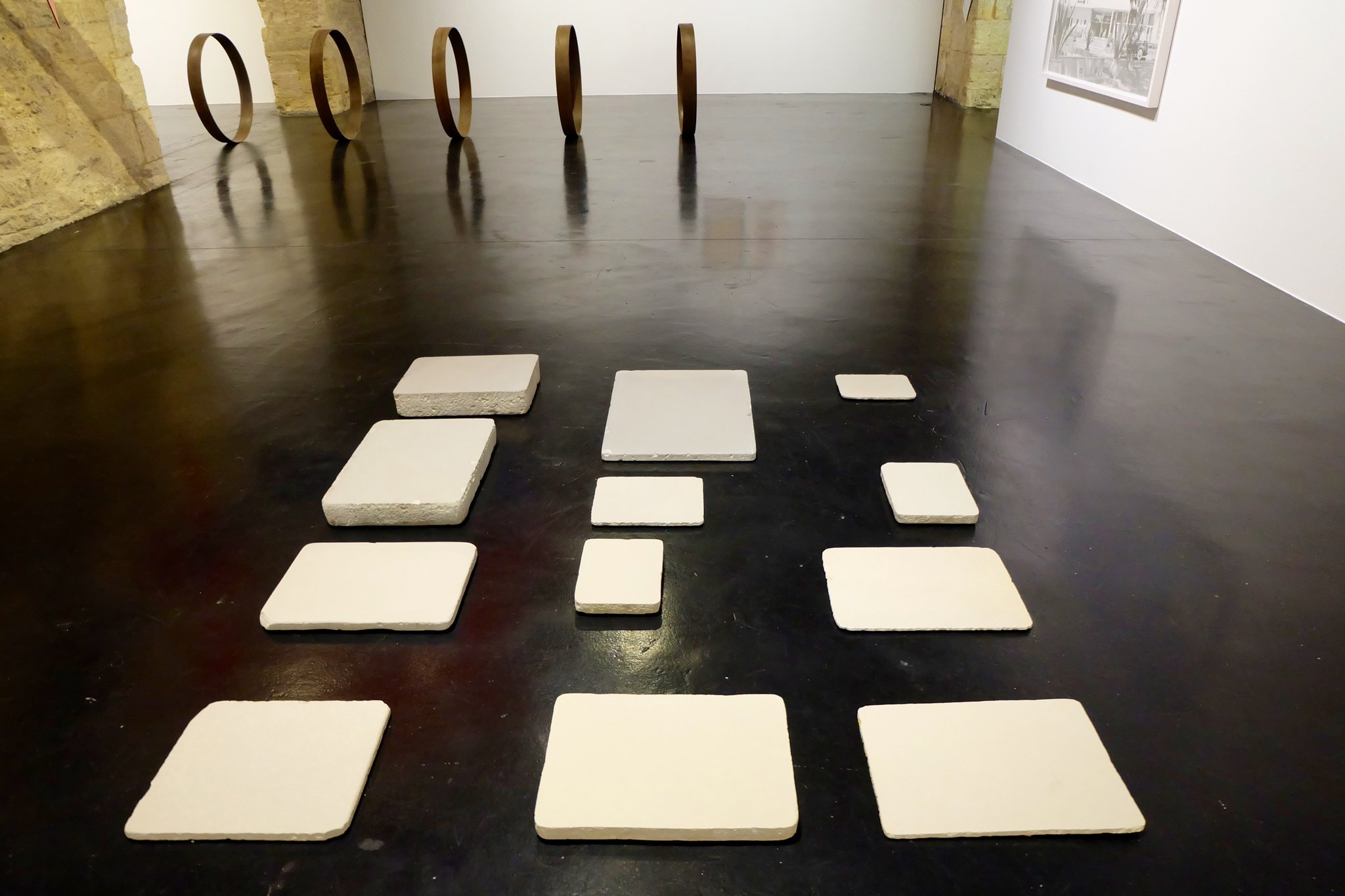 """#MartínLlavaneras' """"Touchpad"""" (2016) stone slabs used for lithography. As printers closed discarded slabs were used as paving #4543billion https://t.co/Ke3E1scRuS"""