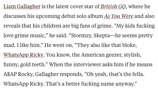 Liam Gallagher is a treasure, this has ended me https://t.co/8oOAuELmv5
