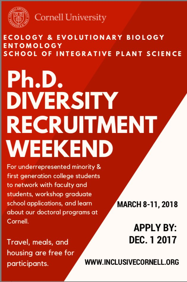 The 2018 Cornell PhD Diversity Recruitment Weekend is open for applications! #URM & #firstgencollege students are eligible. #diversifySTEM