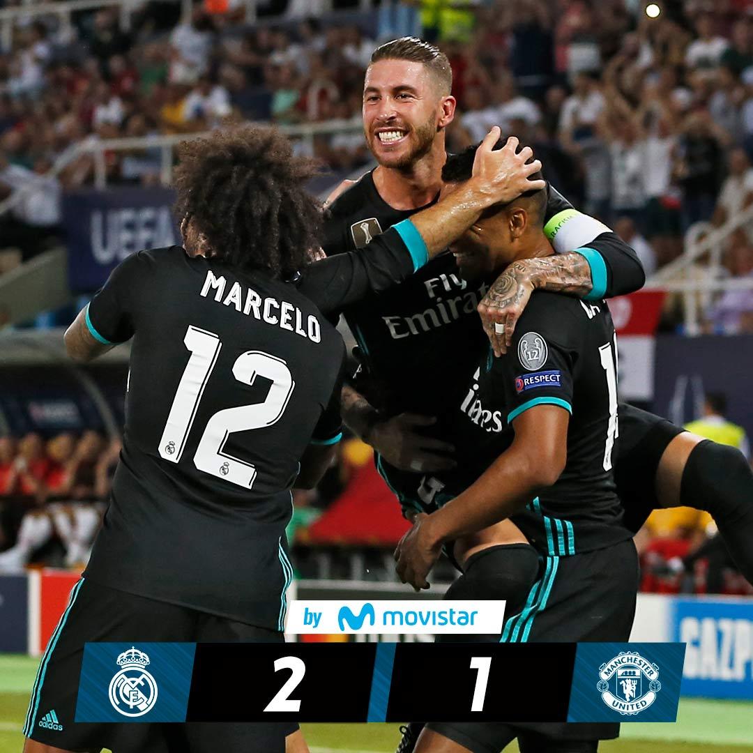 🏆🙌 #CH4MPIONS UEFA SUPER CUP WINNERS!  FT: #RealMadrid 2-1 @ManUtd (@Casemiro 24', @isco_alarcon 52'; Lukaku 62').  #RMMovistar #HalaMadrid