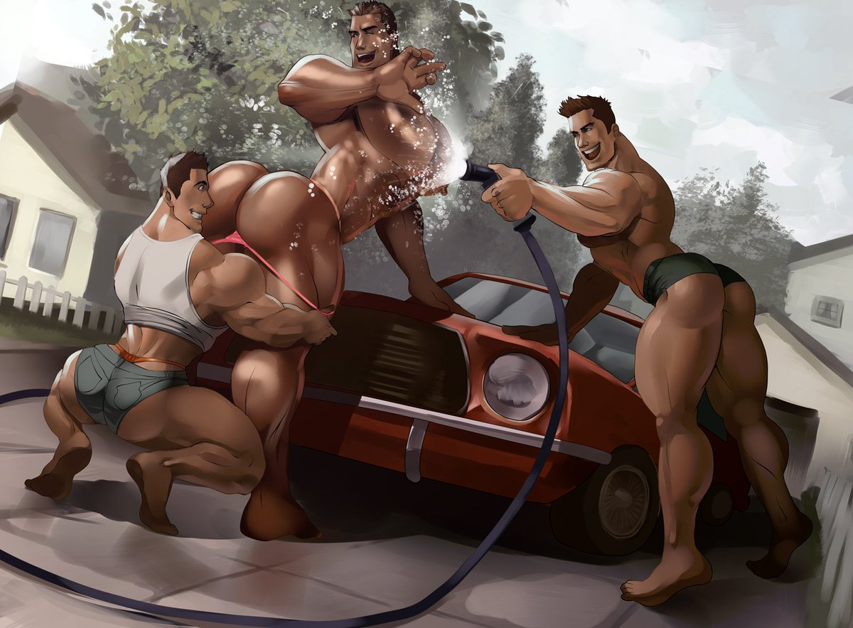 Washing the car with Dad! Commission from my Patreon  http://www. patron.com/absolutbleu  &nbsp;   #bara #thong #MuscleDaddy #absolutebleu <br>http://pic.twitter.com/YJPLn9C4oN