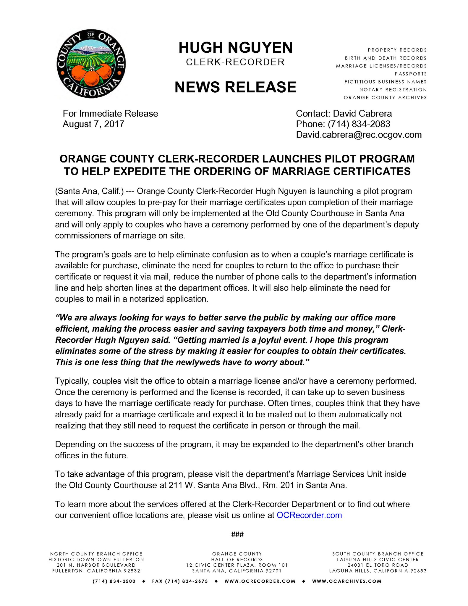 Oc clerk recorder on twitter orange county clerk recorder oc clerk recorder on twitter orange county clerk recorder launches pilot program to help expedite the ordering of marriage certificates aiddatafo Images
