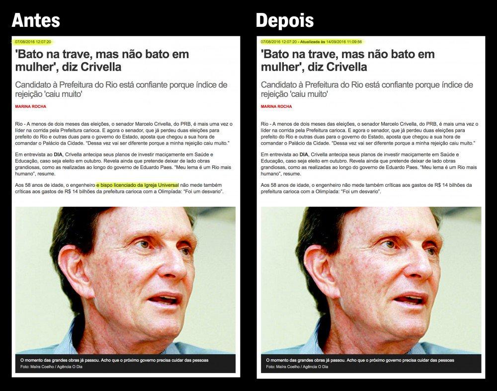 Reportagens já publicadas foram atualizadas omitindo relação entre @MCrivella (Marcelo Crivella) e igreja Universal https://t.co/pOYVCghnXj