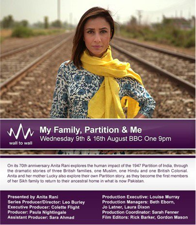Good morning. Tonight I tell the tragic story of the #partition of india. 70 years on the pain is v real. @BBCOne 9 https://t.co/EqHf2FGDhc