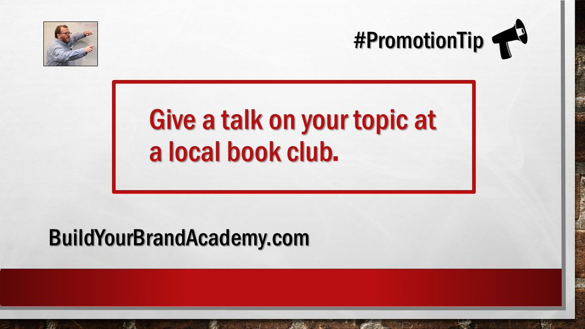 Give a talk on your topic at a local book club.  #SelfPub #Publicity <br>http://pic.twitter.com/4qQDGDtcdp