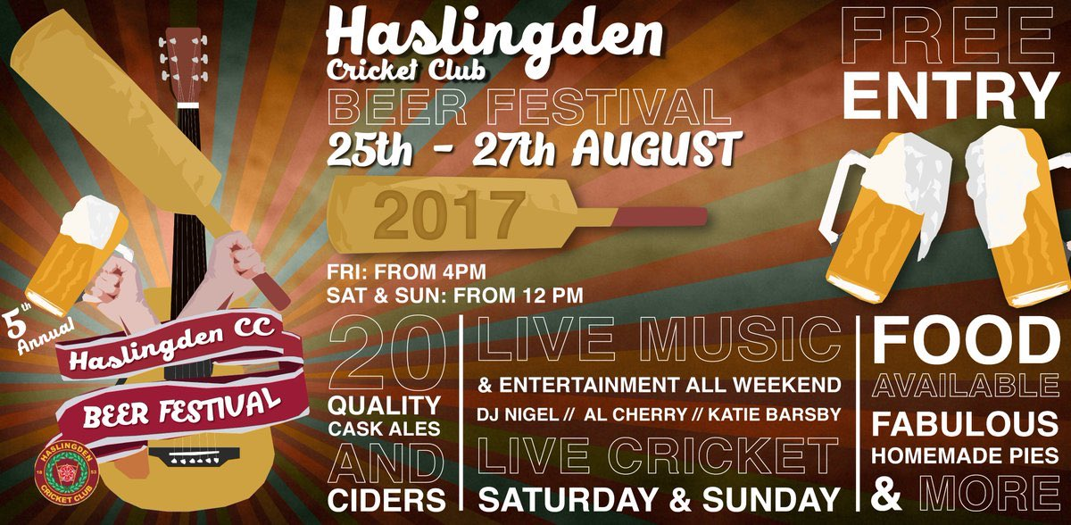 5th annual Haslingden Beer Festival is back - August Bank Holiday #freeentry #music #20handpumpedales #food #cricket<br>http://pic.twitter.com/xViC2d11gI