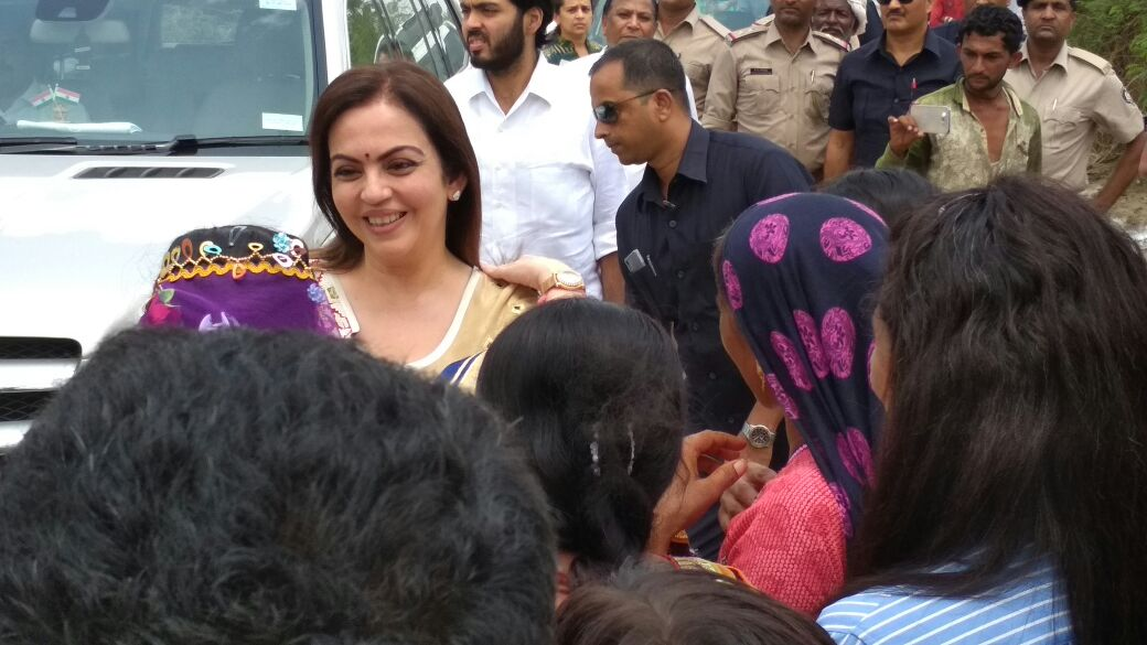 Nita Ambani visits flood affected families of Patan district, commits Rs 10 crore relief, adoption of villages
