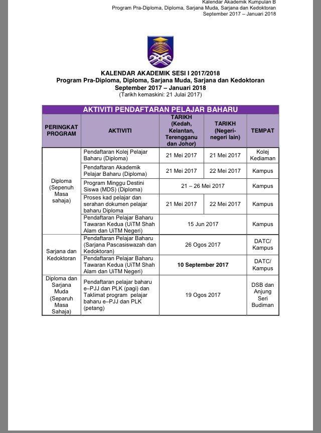 Hea Uitm Cwgn Pahang On Twitter Kalendar Akademik Uitm Bagi Sesi September 2017 Januari 2018 Sumber Https T Co Xccvvkbdrj
