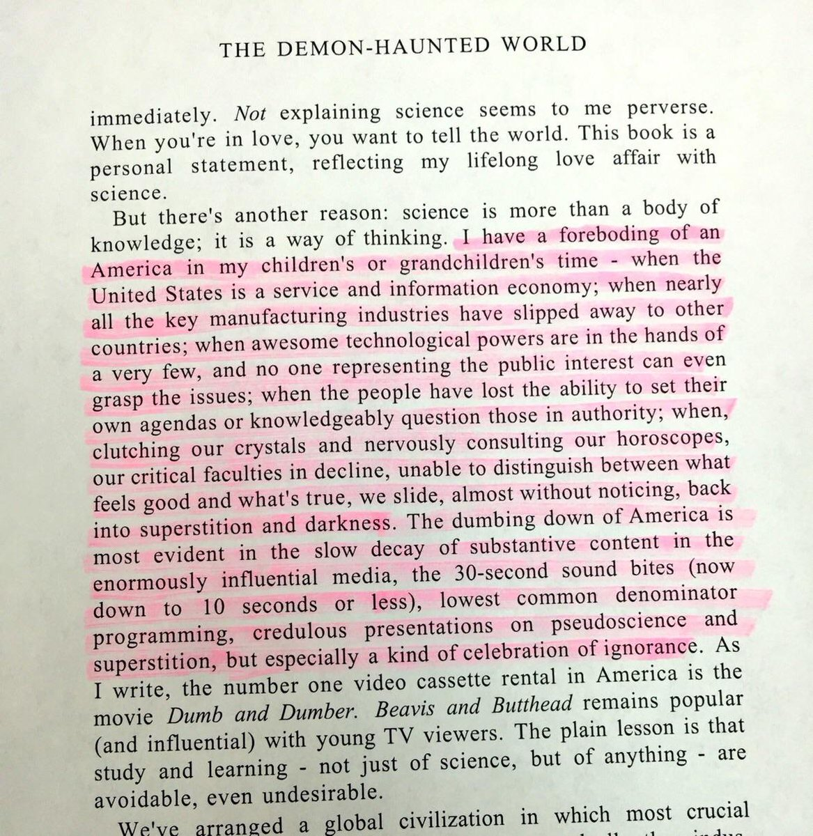 Carl Sagan was eerily accurate on this prediction for the future all the way back in 1996. 100% on point WDYT? https://t.co/7NdE4d3P8y