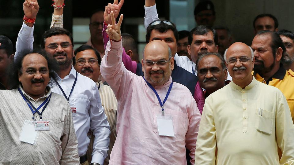 Amit Shah attacks Congress, appeals BJP cadres to get ready for mission 150