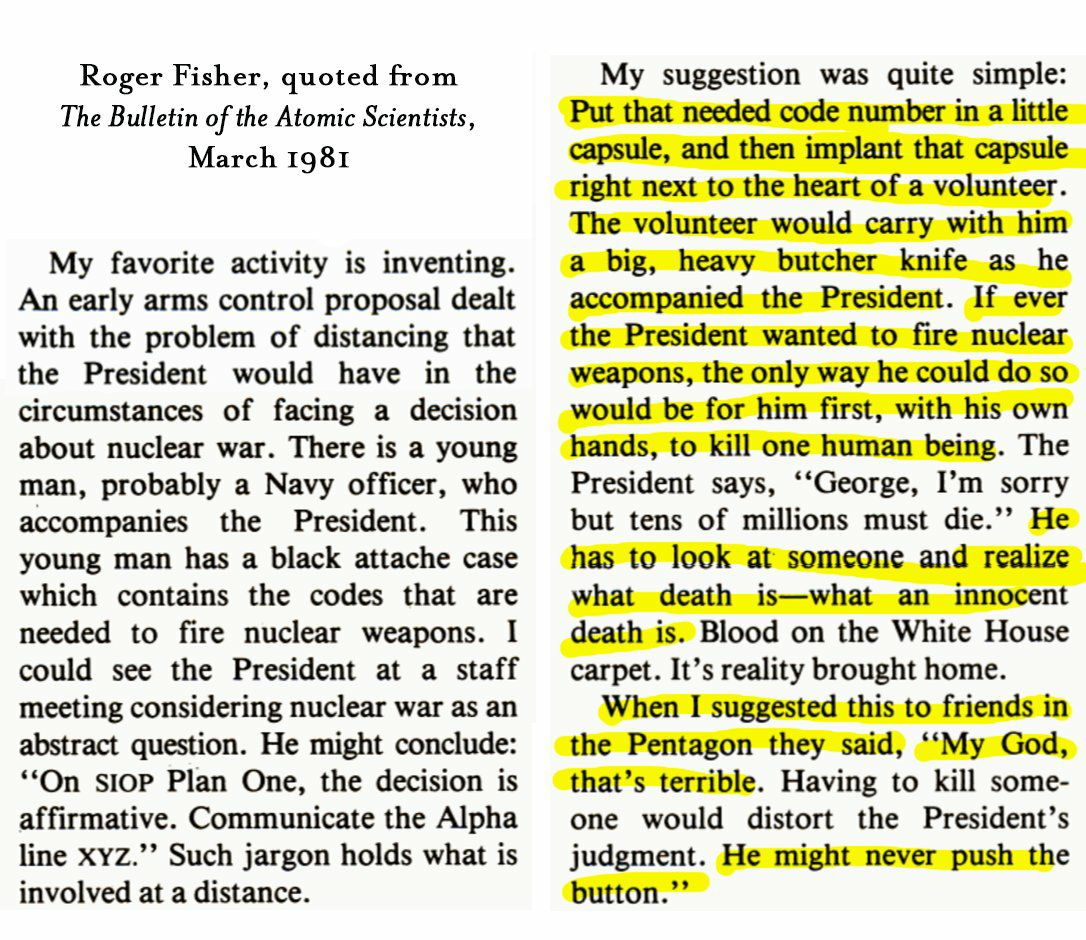 One of the most brilliant and chilling things ever written about nuclear war, by the late Roger Fisher.
