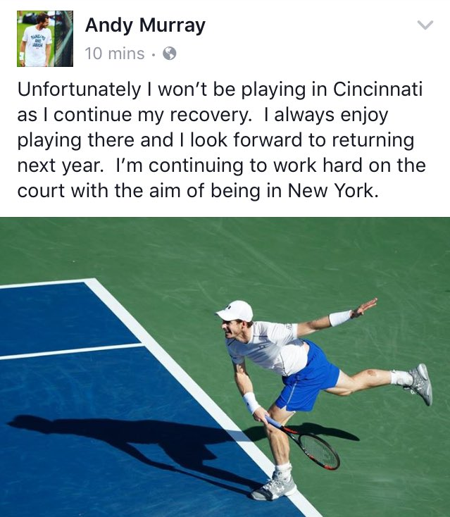 Andy Murray pulls out of Cincinnati.   Still aims to play the @usopen in New York which starts in under 3 weeks. https://t.co/dnaWpZRW9p