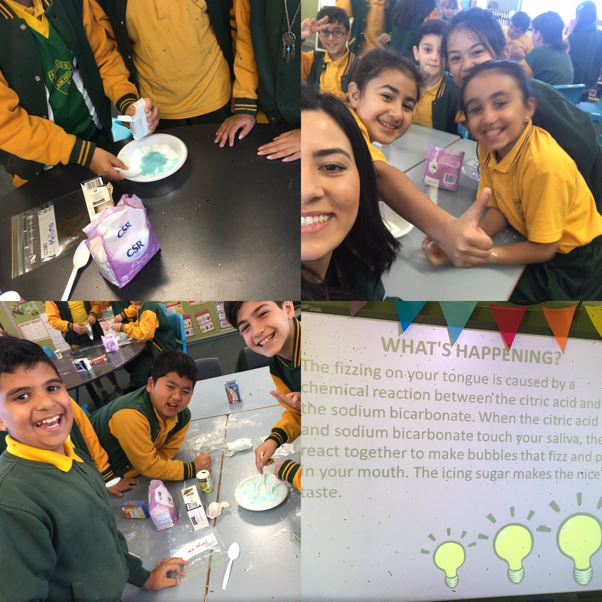 More from @FairWestPS #sciencefunday #educatingyoungsouls #makingsherbet #chemicalreaction #experimenting @Genelle029  <br>http://pic.twitter.com/S3C6JEZxn8
