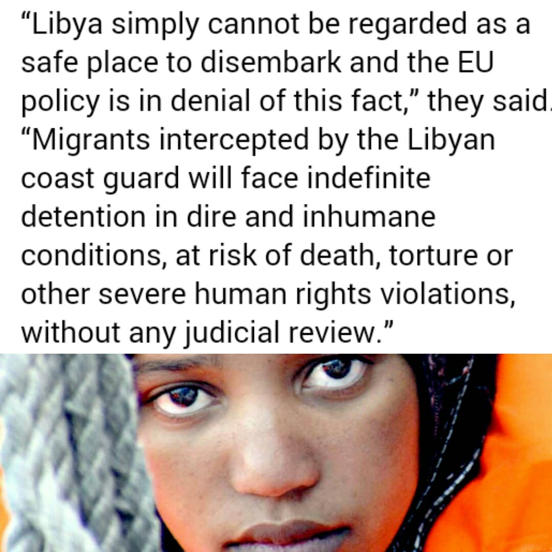 EU &quot;trying to move border to #Libya&quot;. Its policy breaches rights &amp; will cause more #migrants to drown- @UN  http://www. un.org/apps/news/stor y.asp?NewsID=57372#.WZ4fC8vRbqB &nbsp; …  #Refugees <br>http://pic.twitter.com/QipW8ODoT8