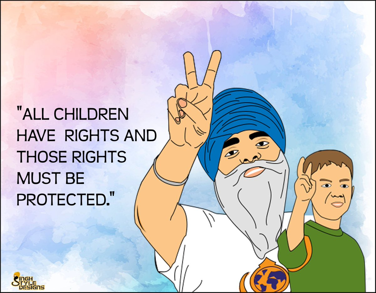 &quot;ALL CHILDREN HAVE RIGHTS AND THOSE RIGHTS MUST BE  PROTECTED.&quot; @RaviSinghKA  @Khalsa_Aid  #illustration #humanity #children #childrenrights<br>http://pic.twitter.com/9skPOShm0J