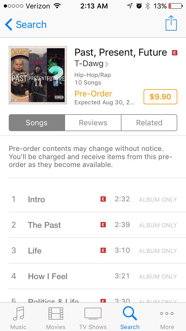 Attention #Twitter #TDawg 1st #album #Past #Present #Future is out on #Itunes #music #Rap #Rapper #HipHop #Eminem #Dr.Dre #Kendrick<br>http://pic.twitter.com/4v7BuOe1vn