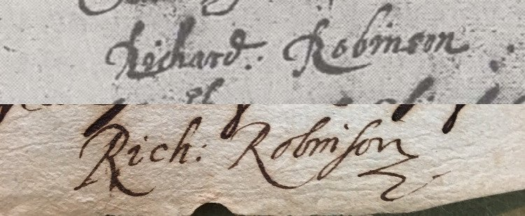 1. a Robinson sig on Burbage's will; 2. a deposition sig 17 years later. Are they by the same man? #b4shakes crew: Kathman walks among you https://t.co/3xlCSUXyLd