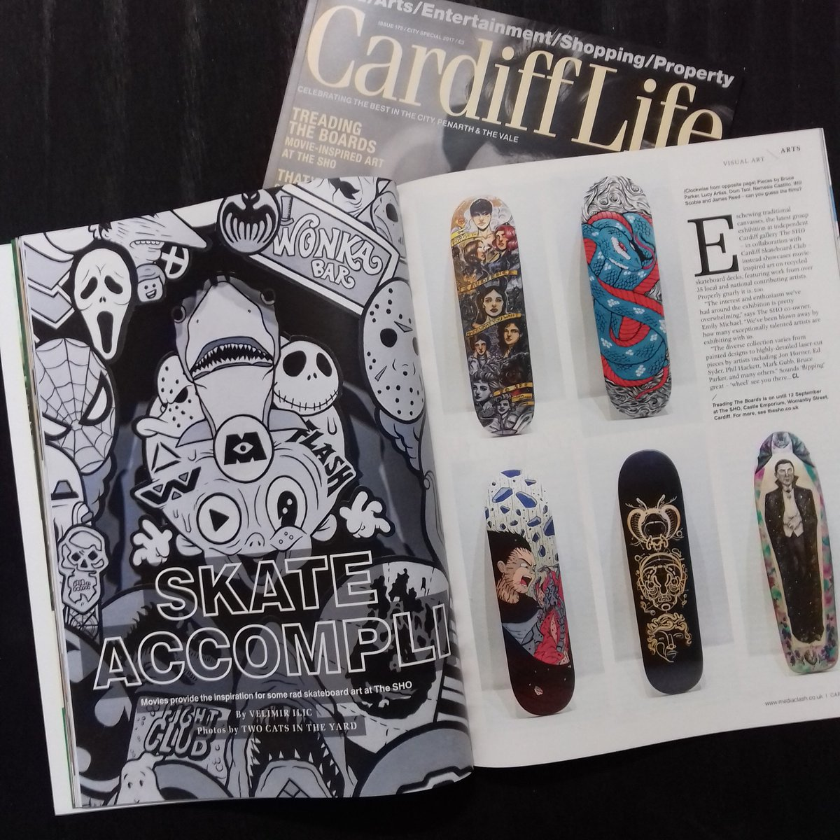 Stoked to be featured in latest issue of @CardiffLifeMag  brilliant feature on current exhibition #treadingtheboards cheers!  #Cardiff <br>http://pic.twitter.com/wtcV0foRX7
