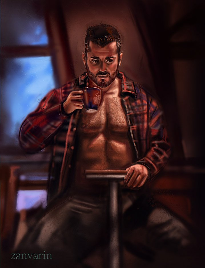 &#39;Quiet Moment&#39; by @ZanVarinArt #Bara #Bear #Beard #Man #Manly #Hunky #Hairy #DigitalArt #ZanVarin #Male #MalePortrait #Portrait #Chest #Hunk<br>http://pic.twitter.com/B52z6KCW54