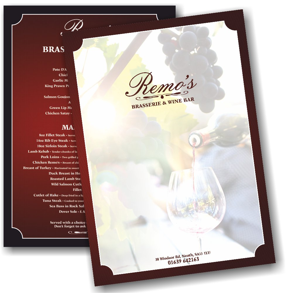 Some A4 #menus we recently put together for Remo&#39;s #Brasserie and #Wine #Bar in #Neath.    http://www. awgraphics.co.uk/a4-menus-remos -brasserie-wine-bar-neath &nbsp; …   #Design #Print #Dining <br>http://pic.twitter.com/KtZBey7WXr