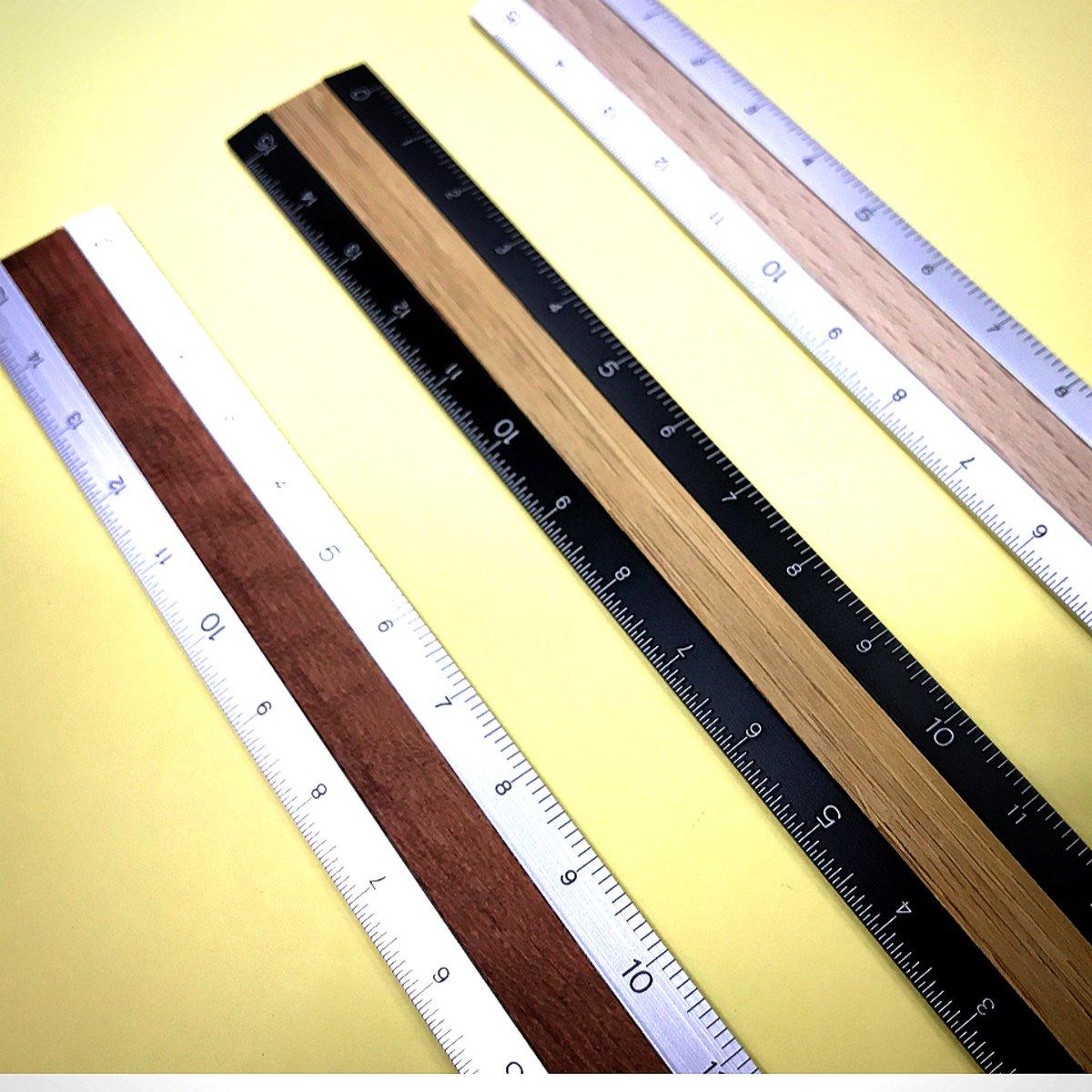 アルミ&ウッド 定規〈15cm〉 うす茶、濃茶、黒。どれもかっこいい('ω')ノ見に来てね! #デザインフィル #ミドリカンパニー #アルミ定規  #シンプル #裾野市 ...