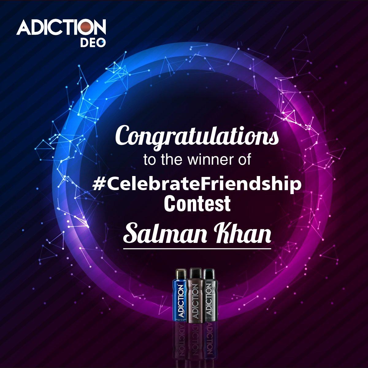 Congratulations to 'Salman Khan(@sayan989)' winner of #CelebrateFriendship Contest. #ContestWinner #SmellStrong #LastLong https://t.co/RqCaM4zwrv